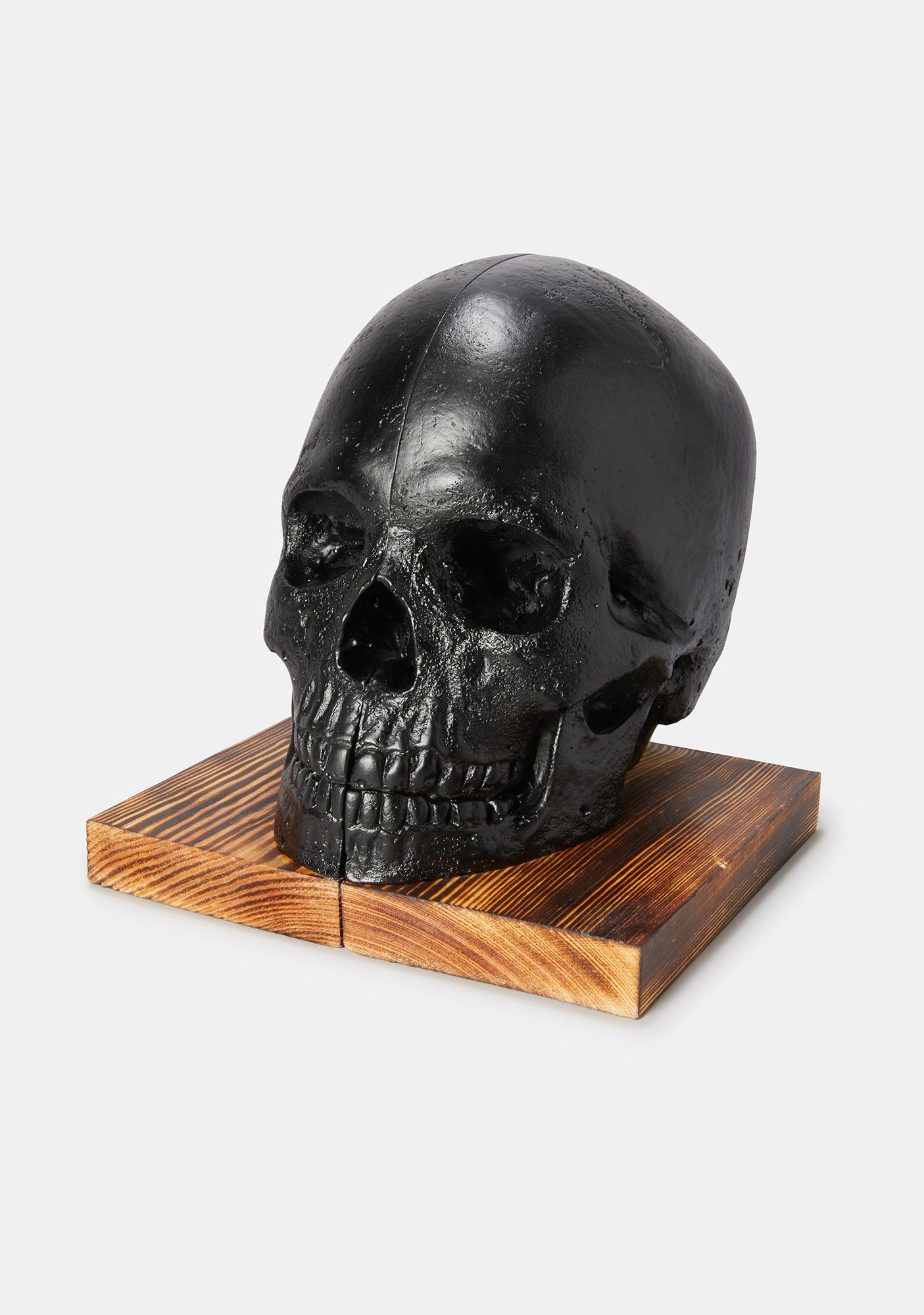 The Blackened Teeth Skull Bookends