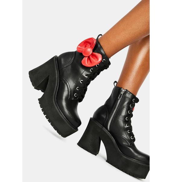 Dolls Kill x Hello Kitty Endless Possibilities Platforms Combat Boots