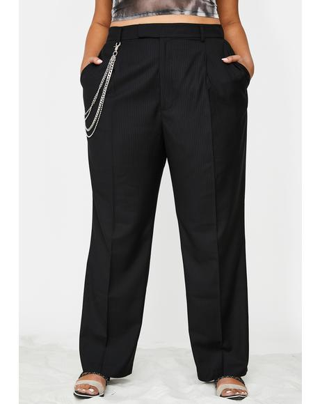 Too Suited For Werk Pinstripe Trousers