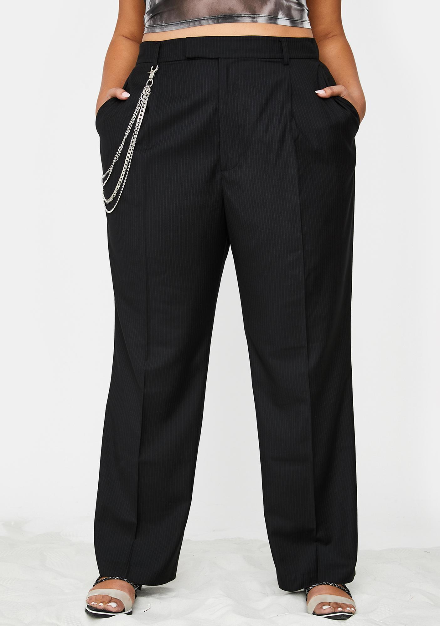 Poster Grl Too Suited For Werk Pinstripe Trousers