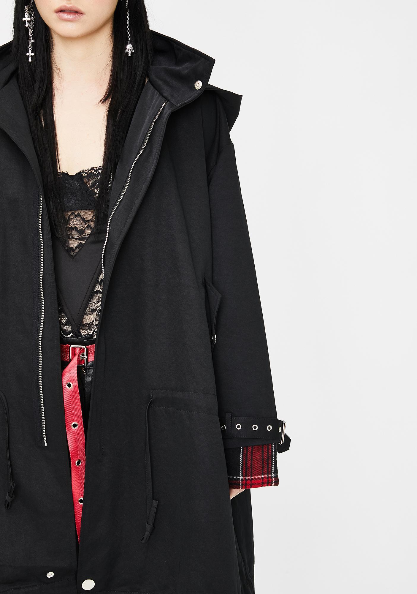 Punk Rave Stitching Hooded Longline Coat