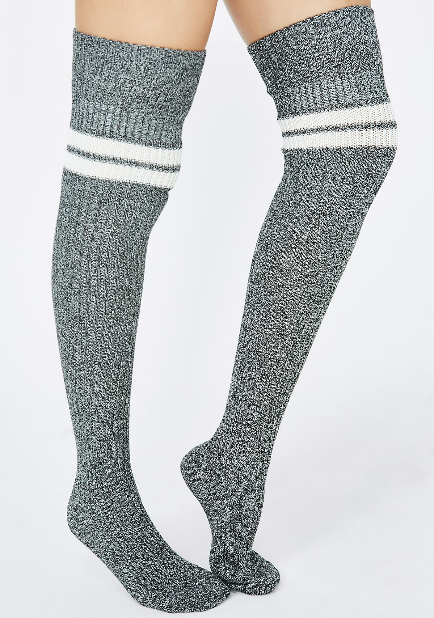 Gorgeous, thick ribbed thigh highs with a wonderful stretch that stay up and look great cuffed! Their terry-lined feet add extra warmth, comfort and cushiness. Made in the USA.