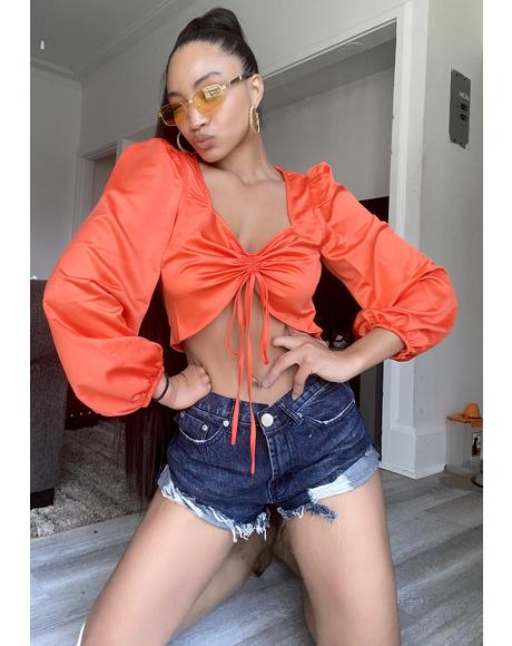 Red Orange Ruched Crop Top