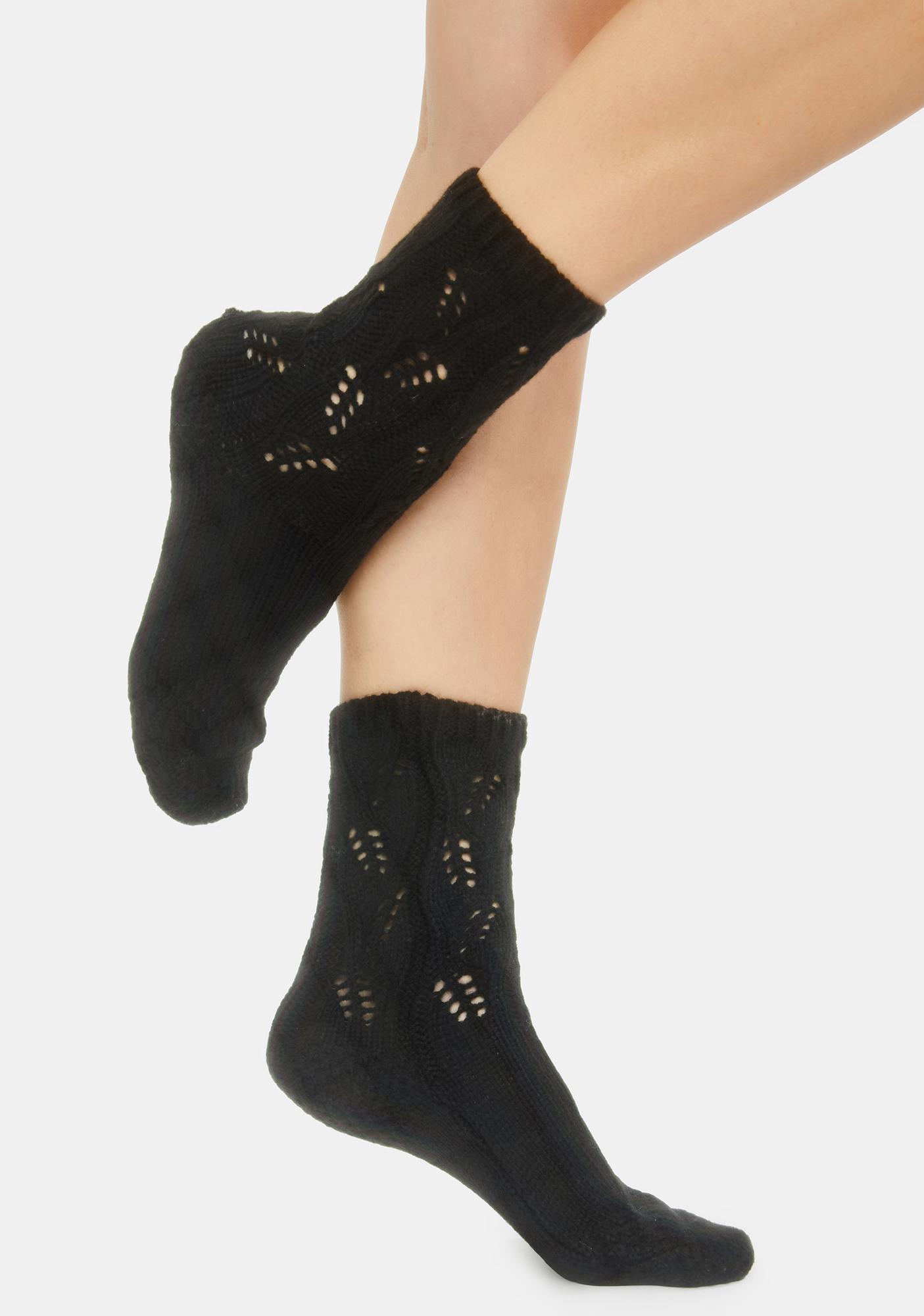 MeMoi Night No Place Like Home Pointelle Crew Socks