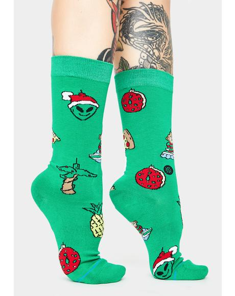 Xmas Ornaments Crew Socks