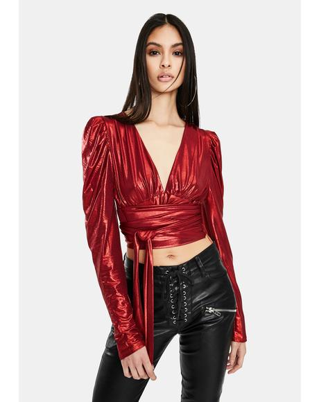 Burn Gimme Money Honey Metallic Crop Top