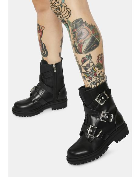 Something Right Buckle Combat Boots