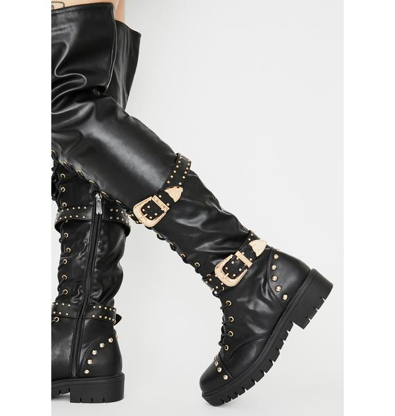 Dark Glamazon Gurl Knee High Boots