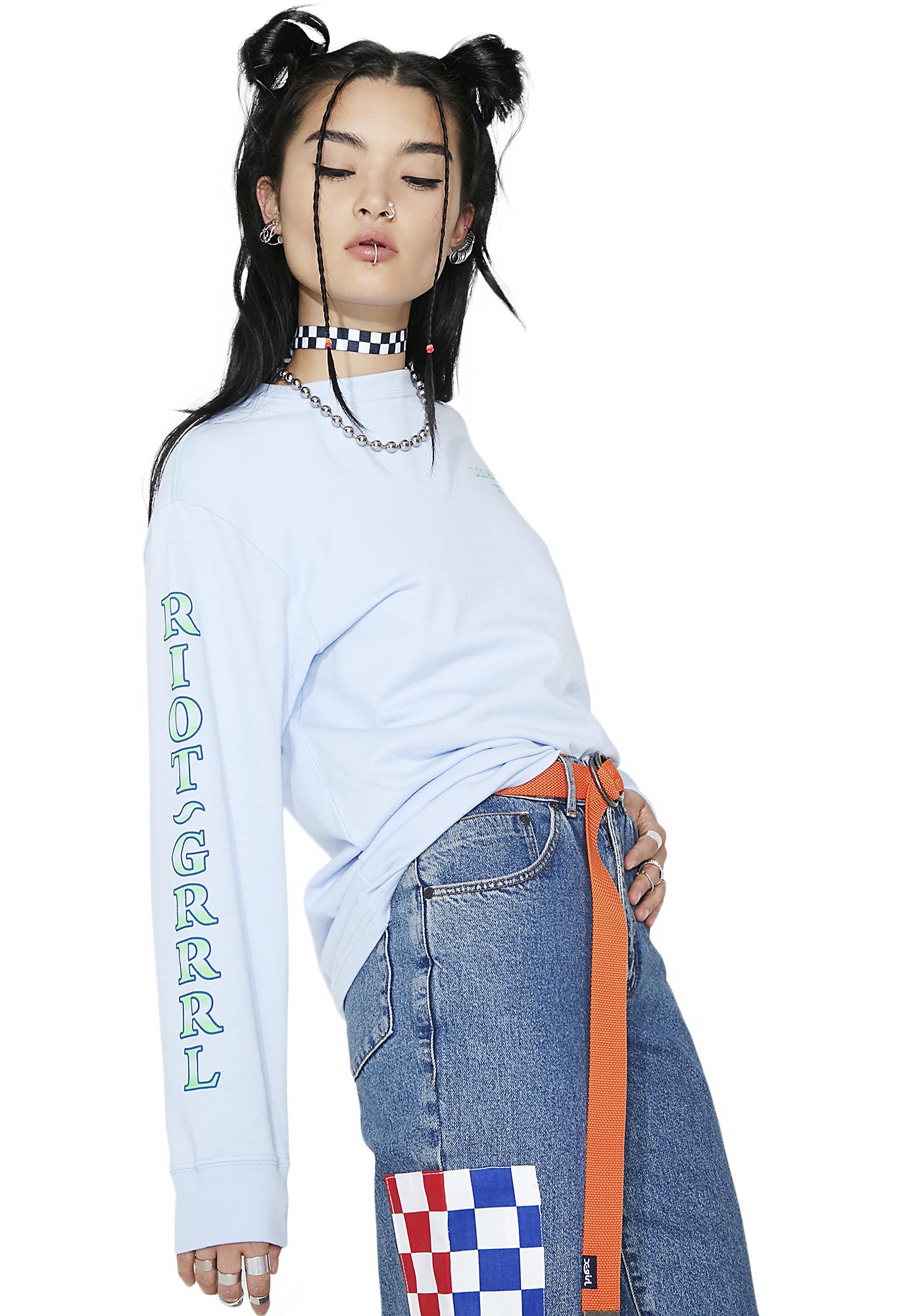 x-Girl So Blue Riot Grrl Long Sleeve Tee