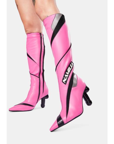Pink Vegan Dick Heel Motocross Boots