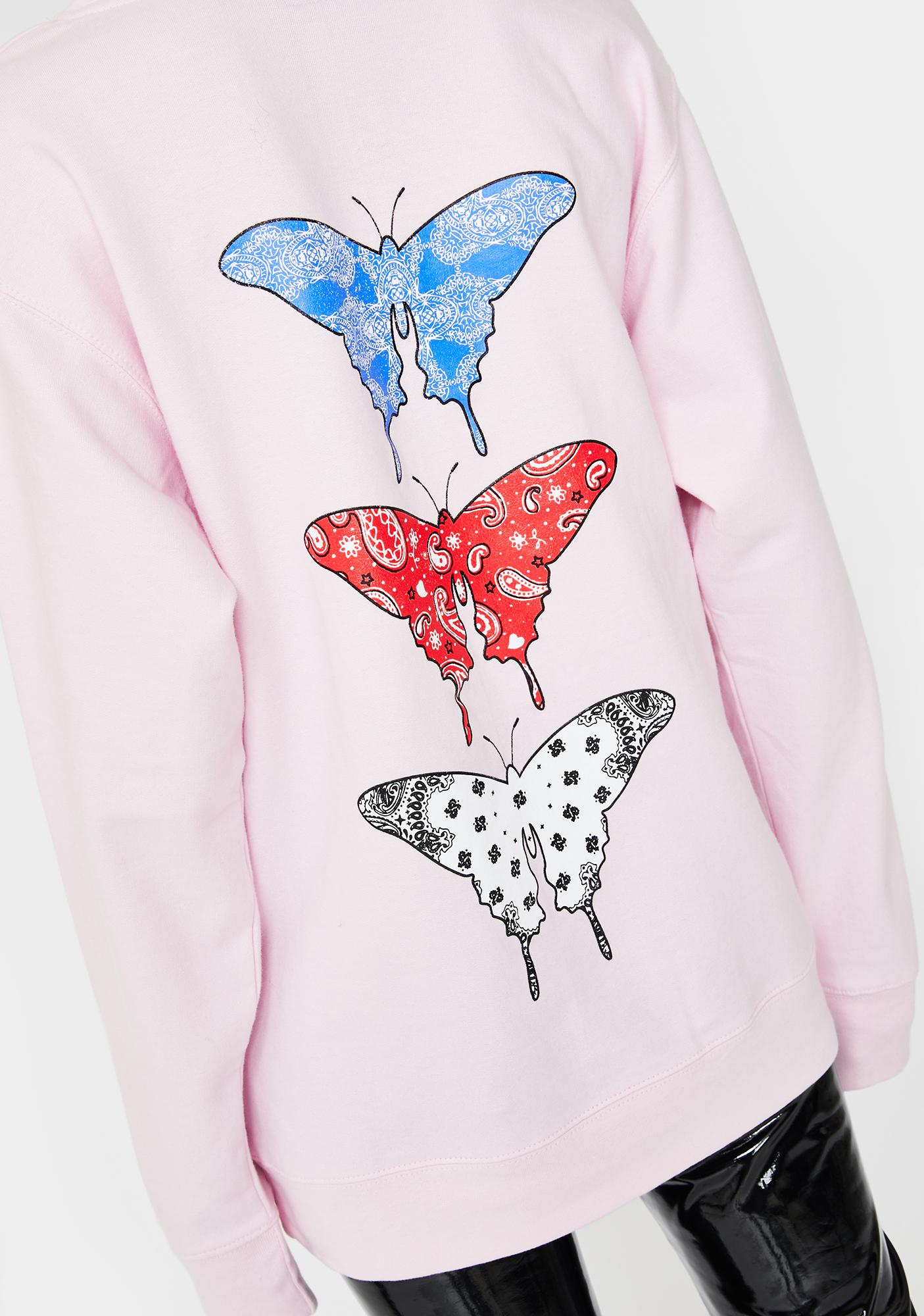 Funeral Pink Bandana Butterfly Hoodie