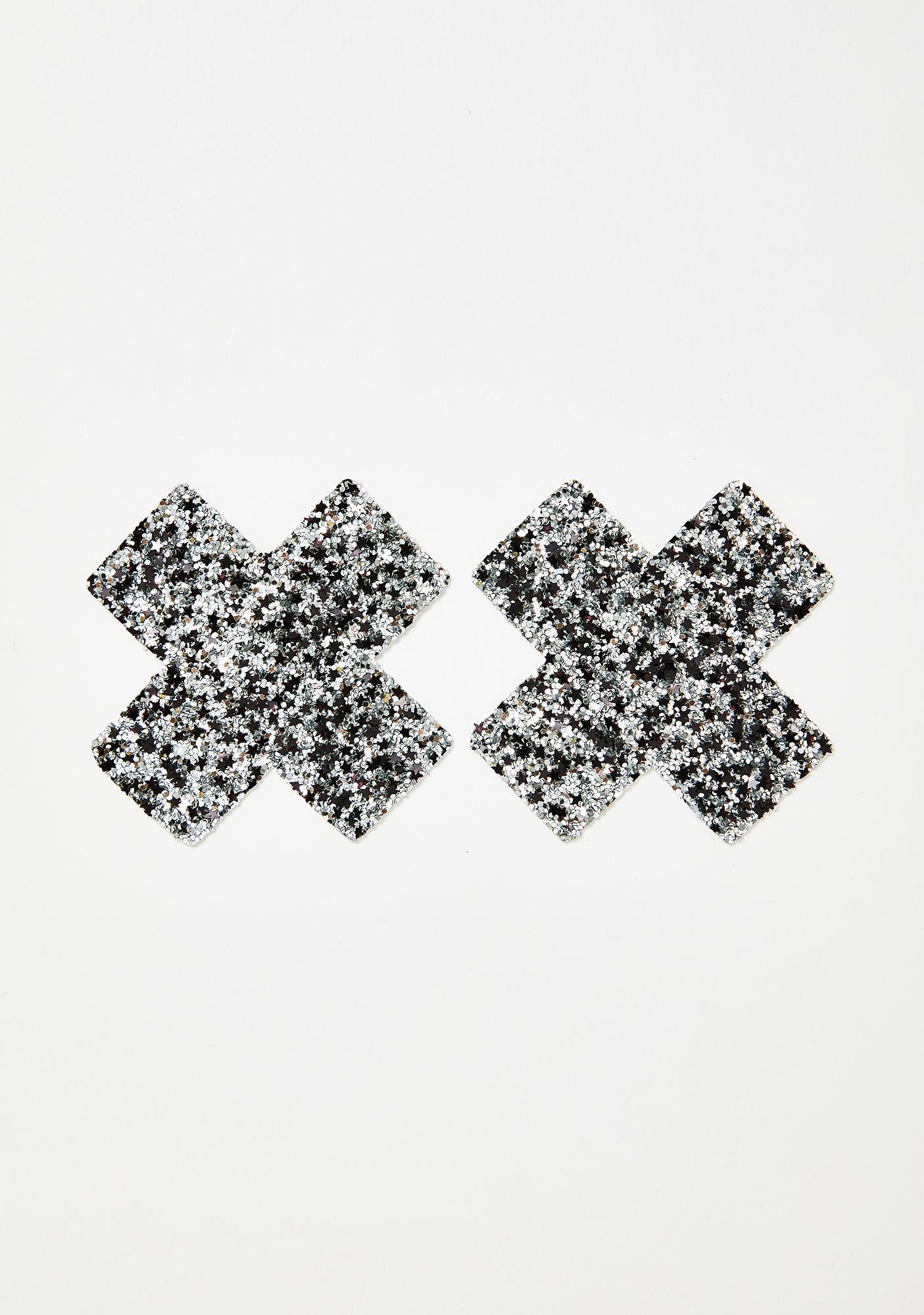 Neva Nude Silver Chunky Glitter Cross Pasties
