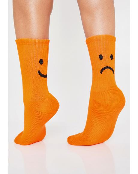 Orange Happy Sad Crew Socks