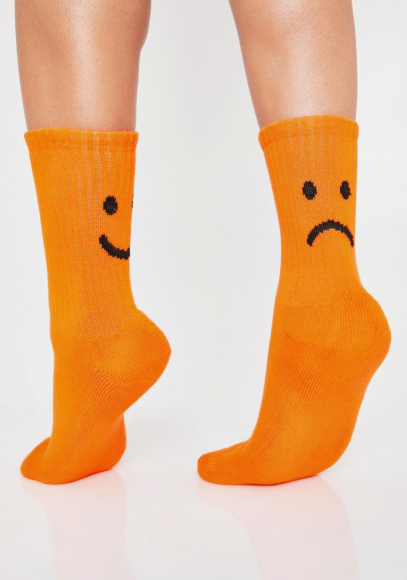 Lazy Oaf Orange Happy Sad Crew Socks