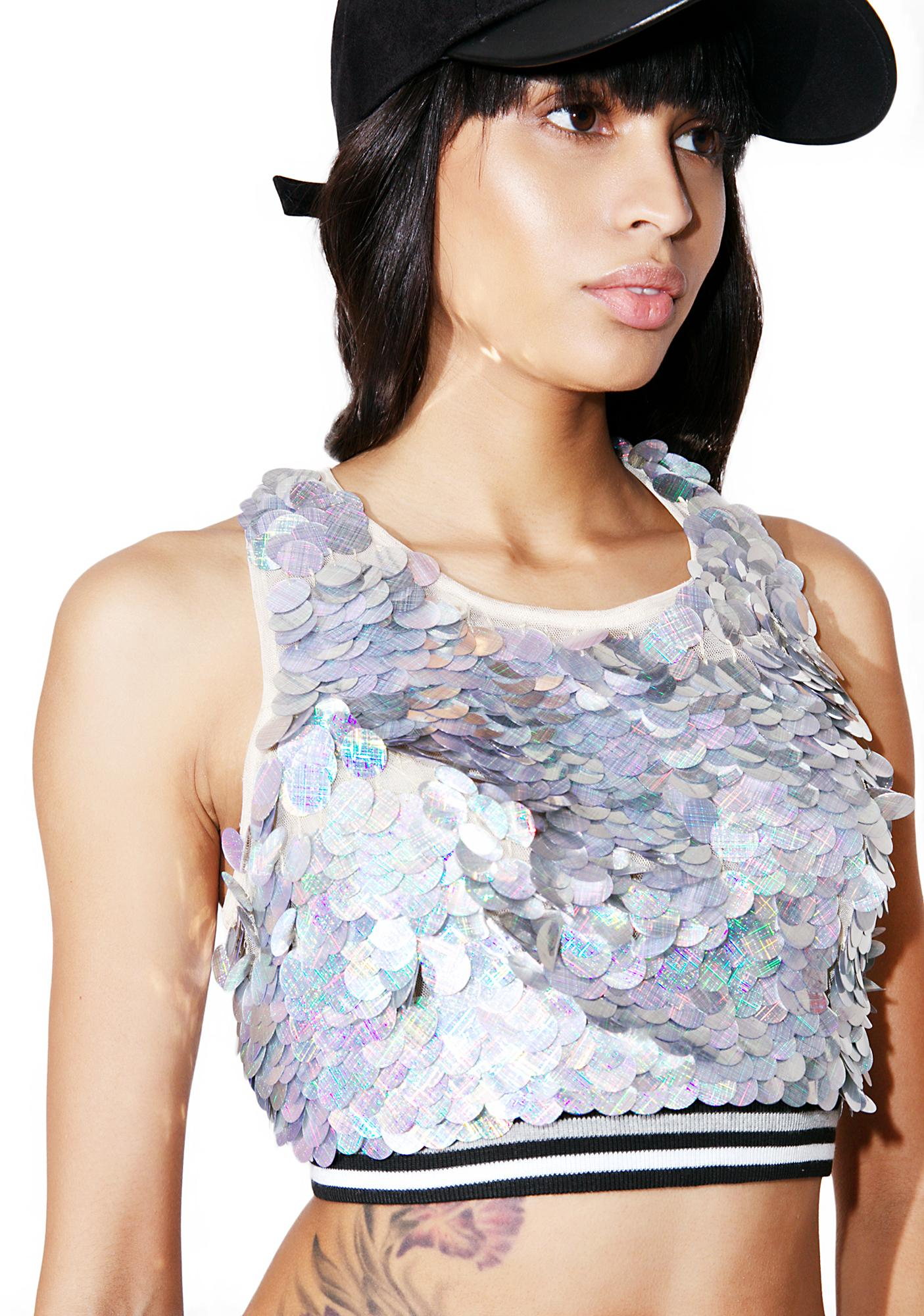 Glamorous Cold Sweat Sequin Crop Top