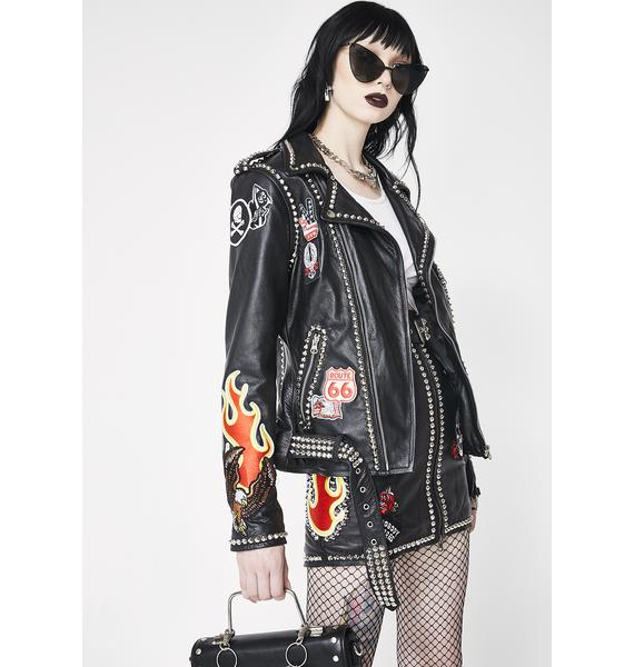 Hazmat Design Flame Job Leather Jacket