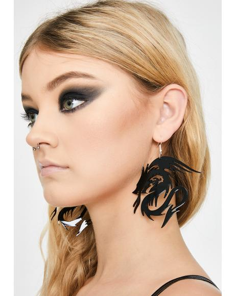 Black Dragon Baby Earrings