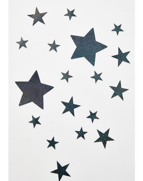 Black Glitter Stars Pasties Set