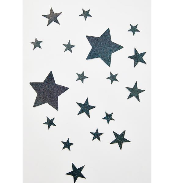 Pastease Black Glitter Stars Pasties Set