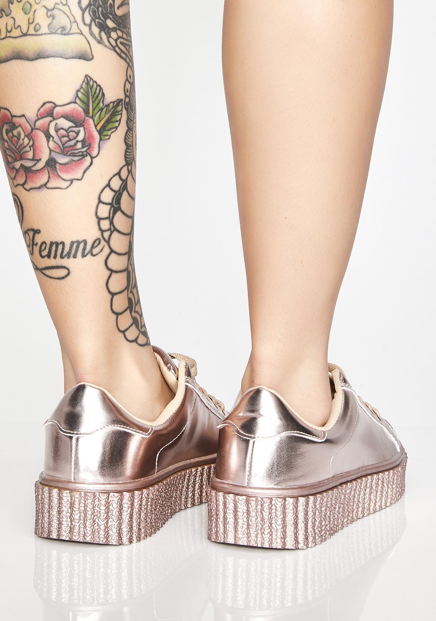 Rose Liquid Dreams Metallic Sneakers