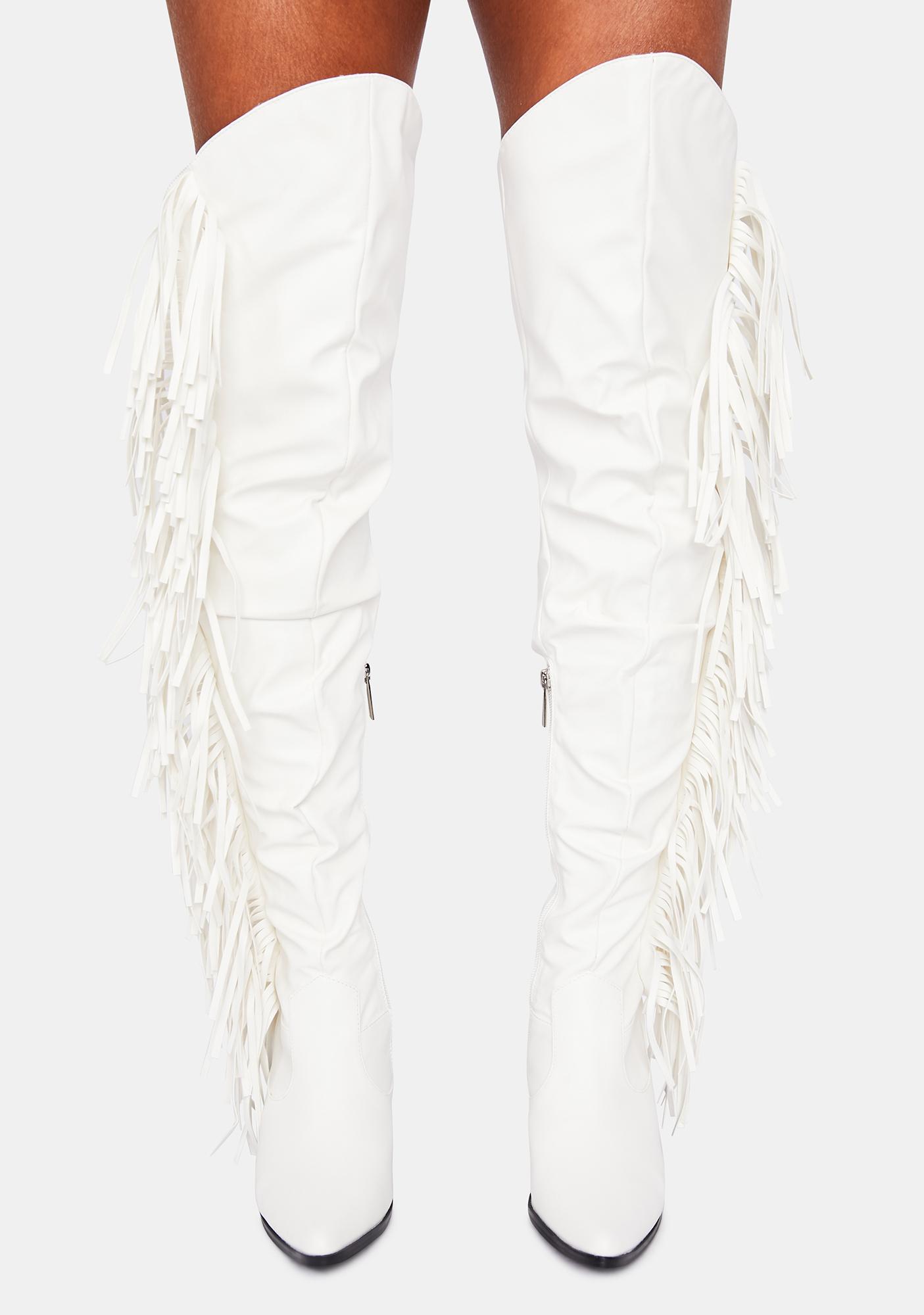 Fringe Tall Boots - White | Dolls Kill