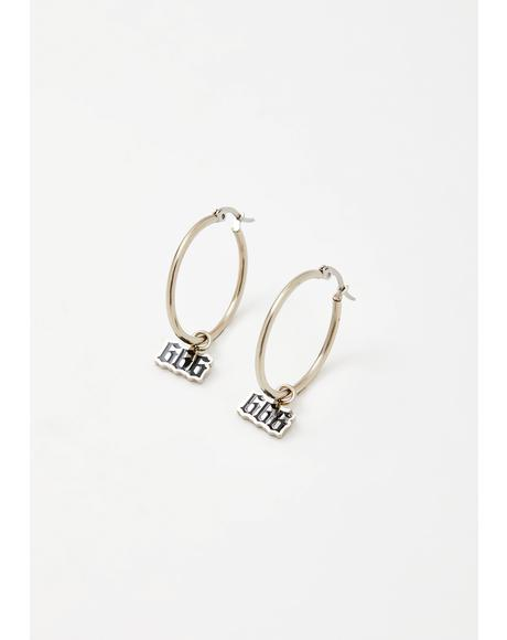 666 Charm Earrings