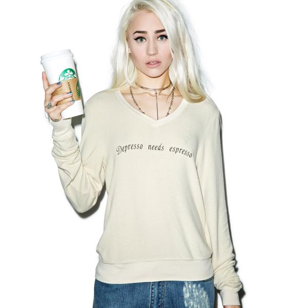 Wildfox Couture Depresso Needs Espresso V-Neck Baggy Beach Jumper