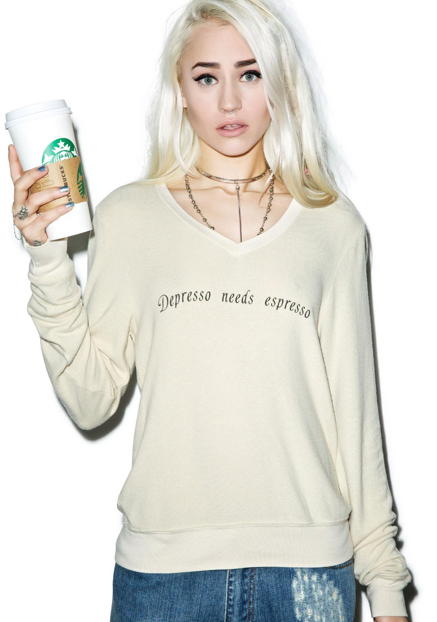 Wildfox Couture Depresso Needs Espresso V-Neck Baggy Beach Jumper