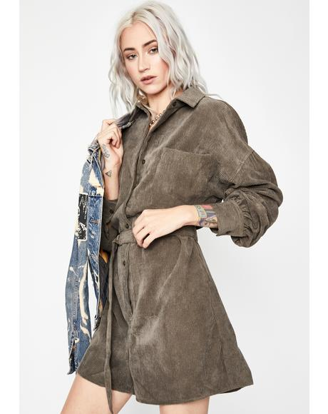 War Zoned Belted Shirt Dress