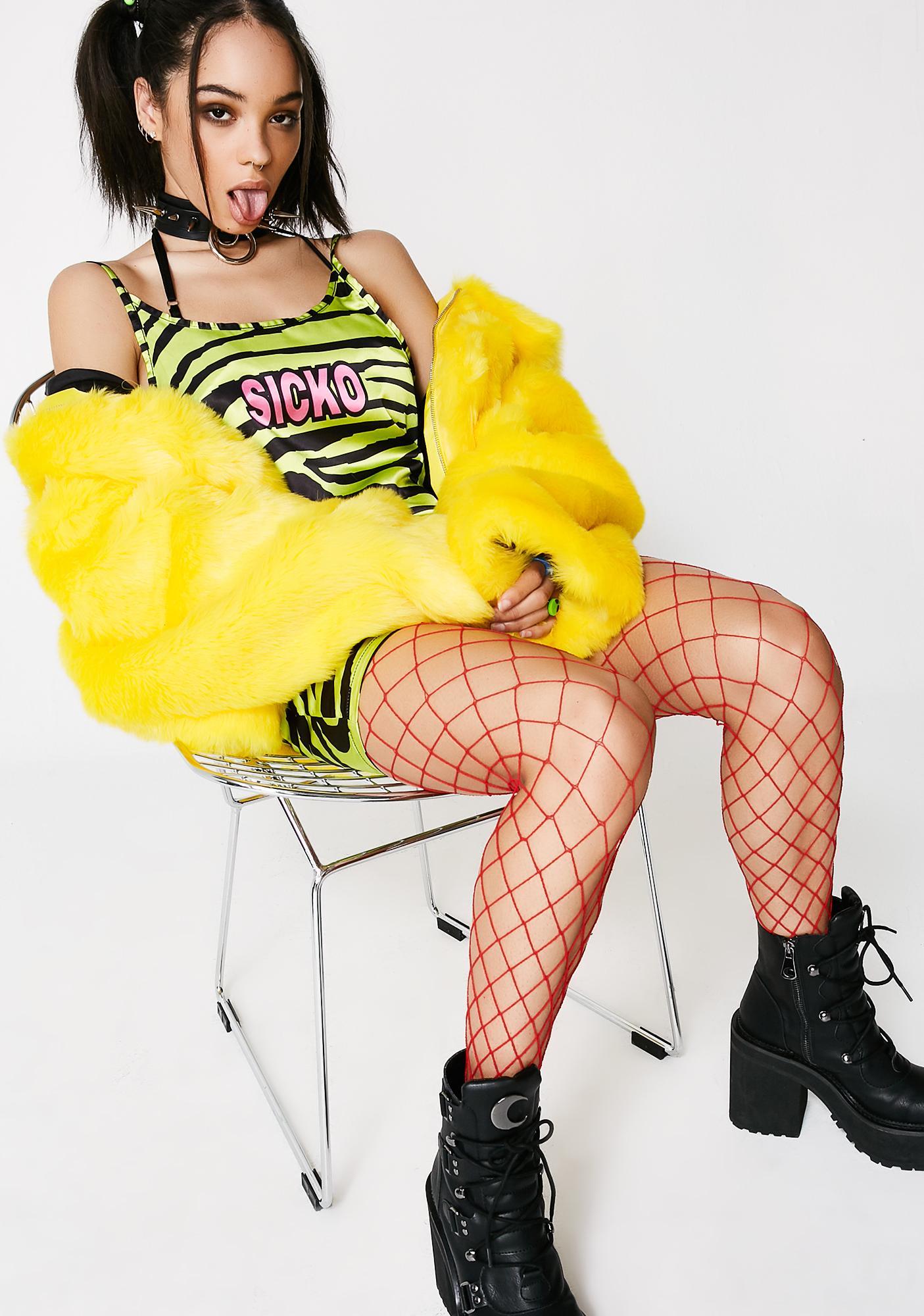 Sicko Cartel Zebra Lime Satin Mini Slip Dress