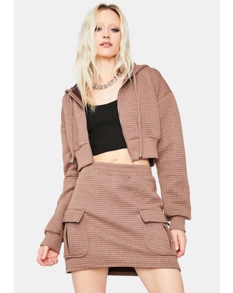 Mocha Lazy But Ready Waffle Knit Skirt Set