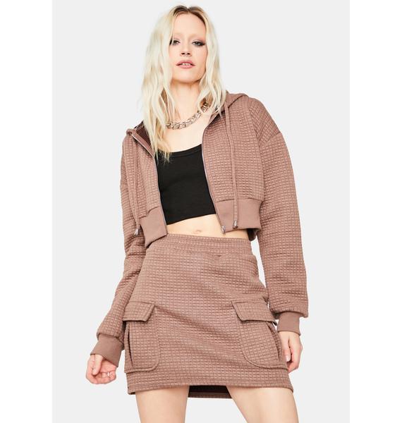 Mocha Lazy But Ready Waffle Knit Skirt Set