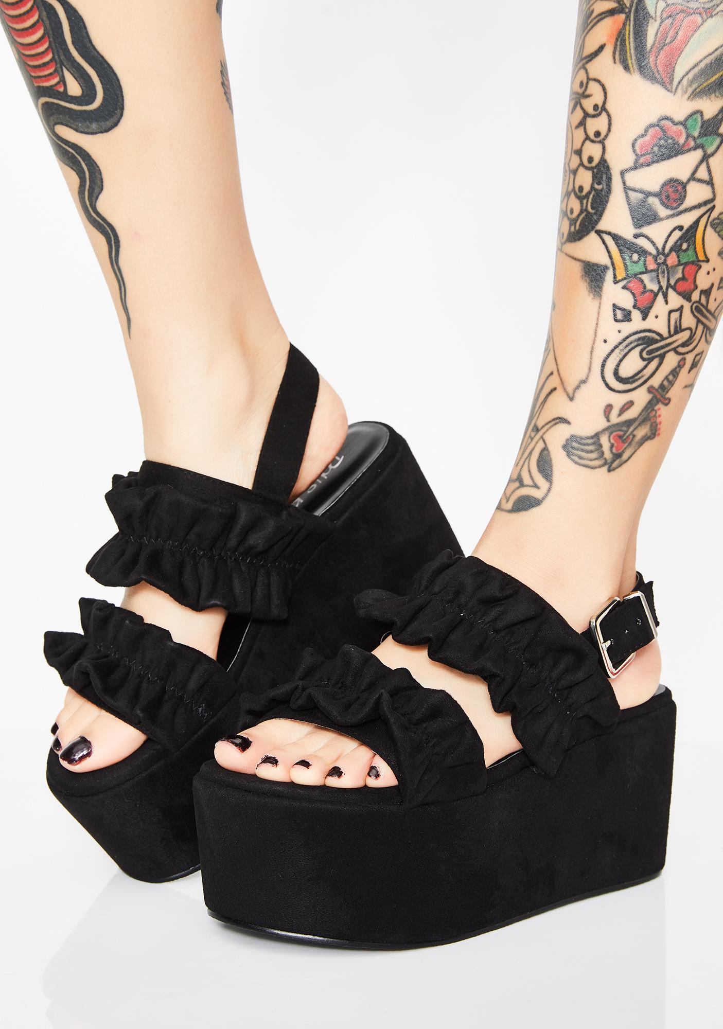7fdeb824e55f Dark Ruffled Fate Platform Sandals