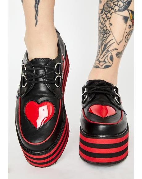 Heart Striped Platform Creepers