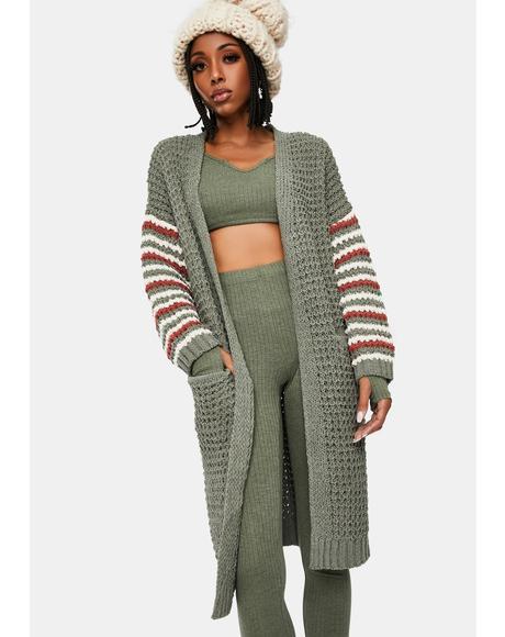 Warm Me Up Striped Knit Cardigan