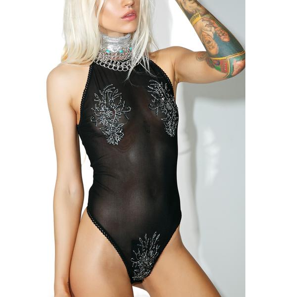 Current Mood Moonflower Beaded Bodysuit