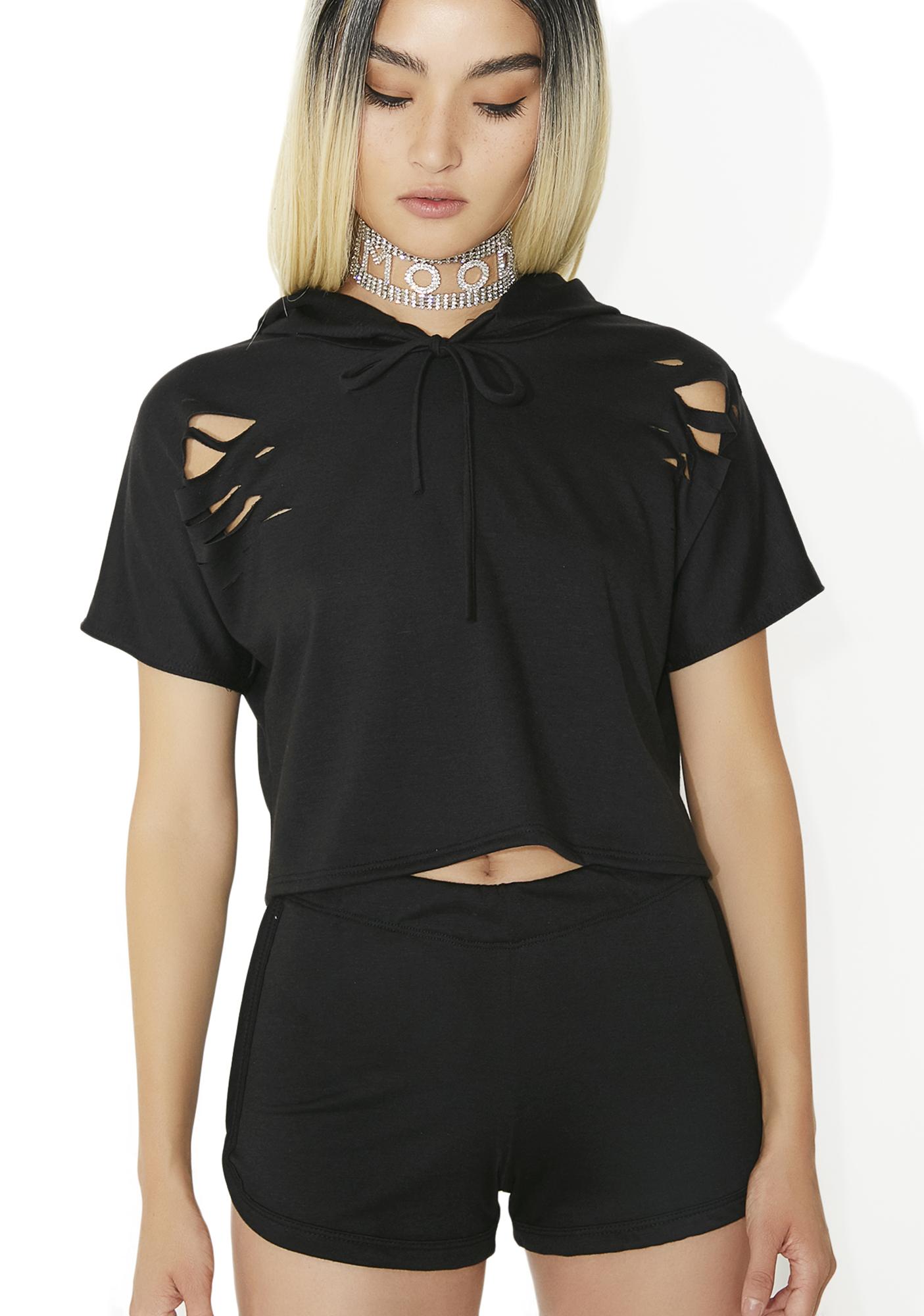 Distressed Hoodie Shorts Matching Set Black