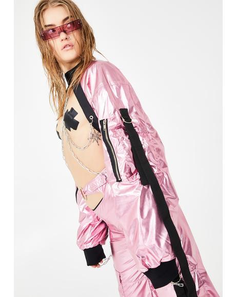 Metallic Pink Choker Bomber Jacket