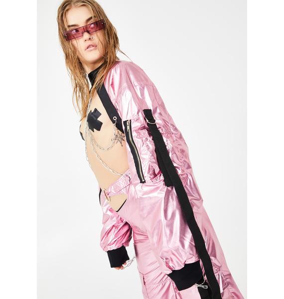 Namilia Metallic Pink Choker Bomber Jacket
