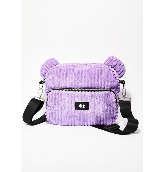 Lazy Oaf Zippy Purple Bear Bag