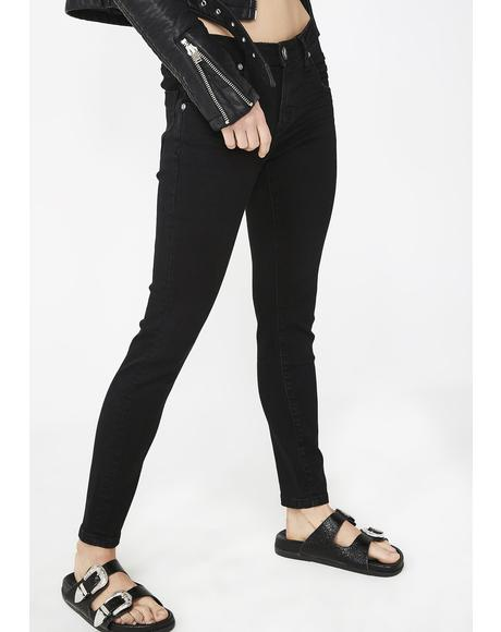 Black Punk Freebirds II Low Waist Skinny Jeans