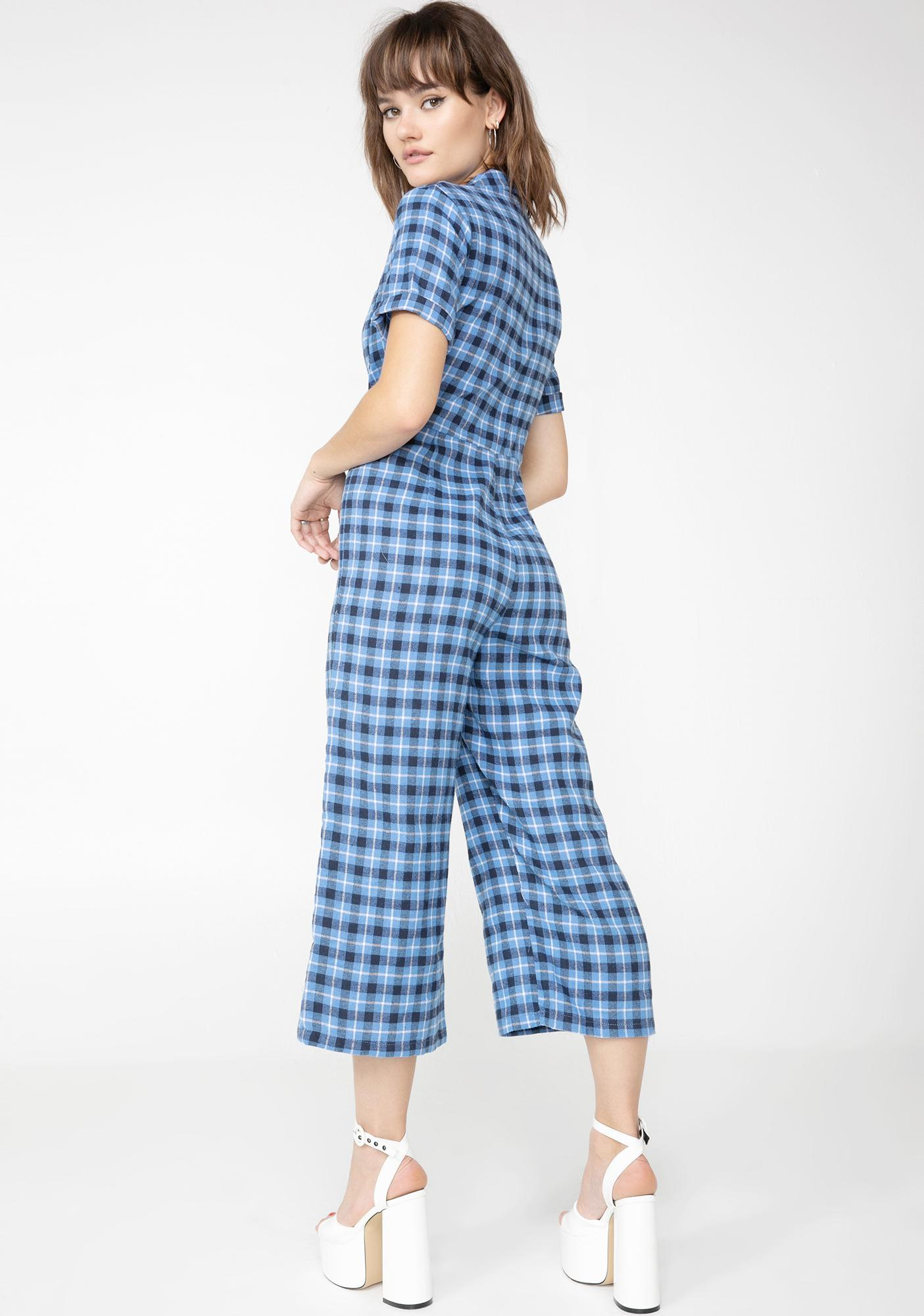 Daisy Street Check Print Button Up Jumpsuit