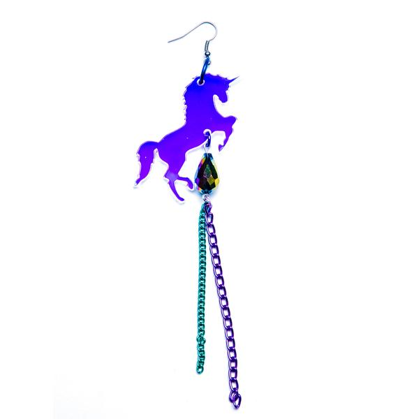 Suzywan Deluxe Unicorn Fantasma Iridescent Single Earring