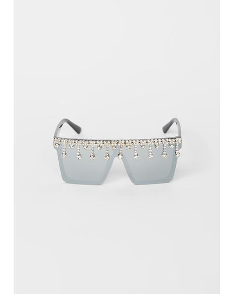 Chrome Designer Drip Rhinestone Sunglasses