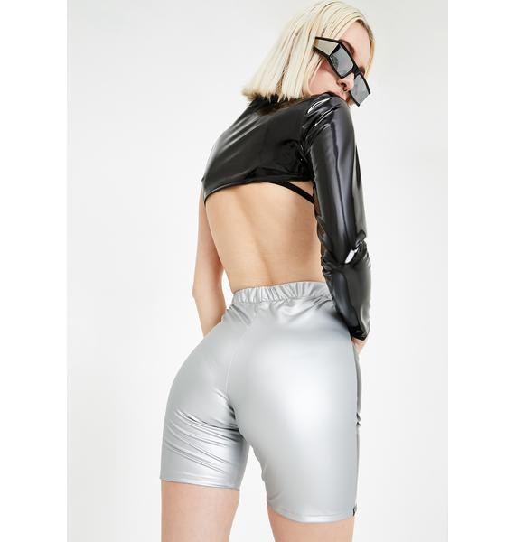 GoGuy Reflective Piping Metallic Biker Shorts