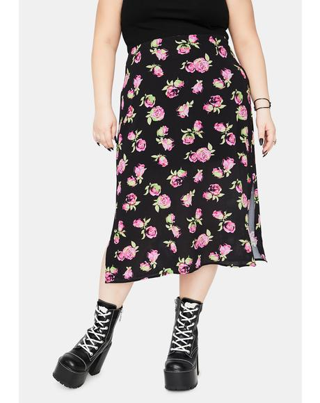 She's Lost In Yesterday Floral Midi Skirt