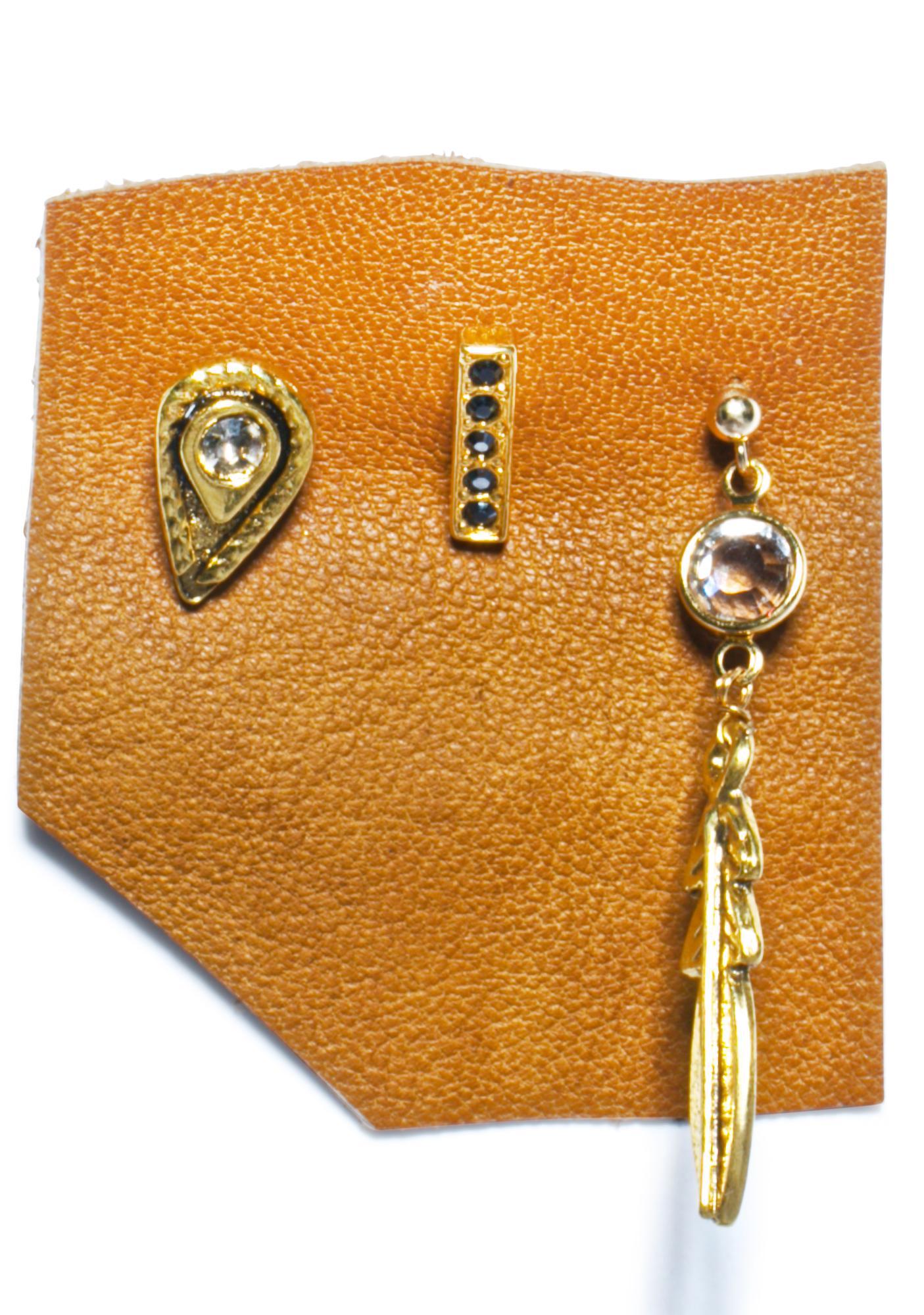 Vanessa Mooney Zeppelin Gold Earring Set