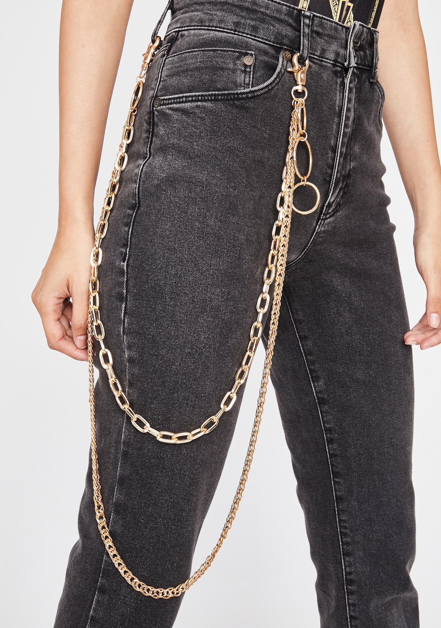 Gilded Metal Maniac Layered Belt Chain