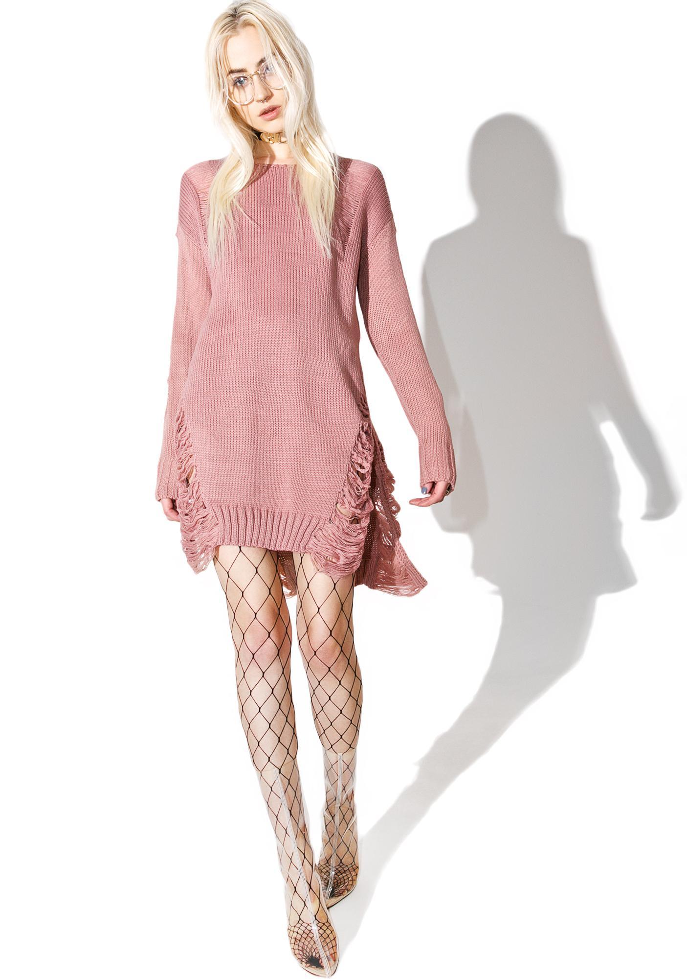 Tear Down Shredded Sweater Dress