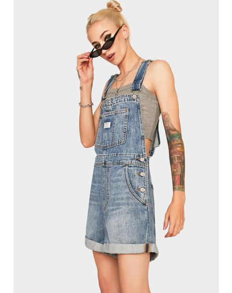 Vintage Wash Denim Shortalls